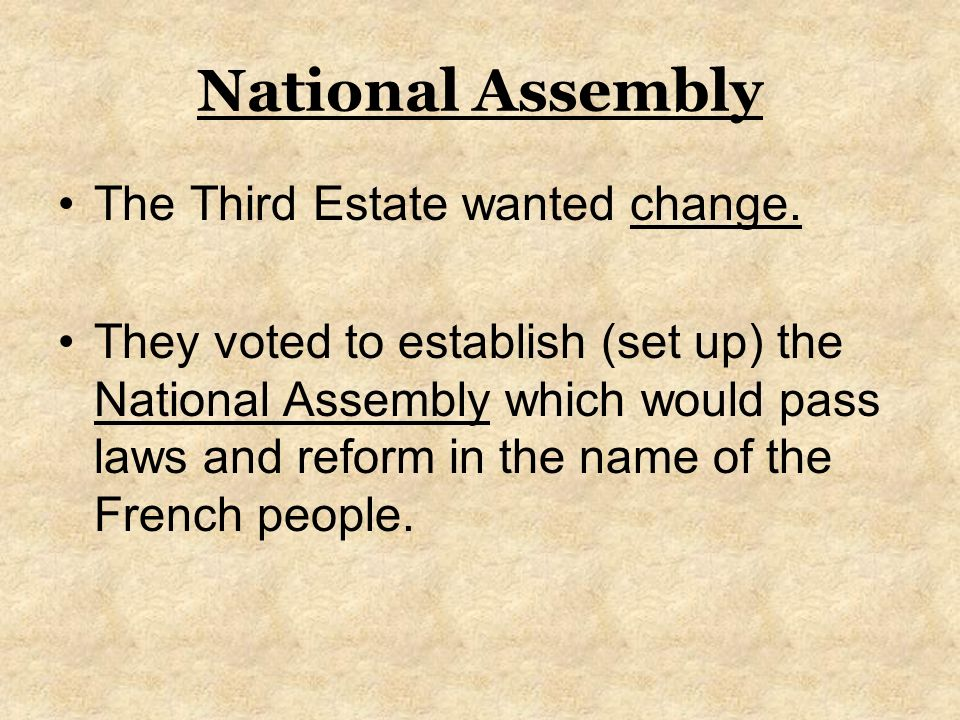 National Assembly The Third Estate wanted change.