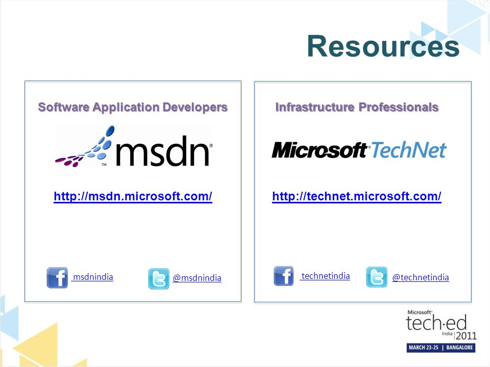 Resources Software Application Developers   Infrastructure Professionals