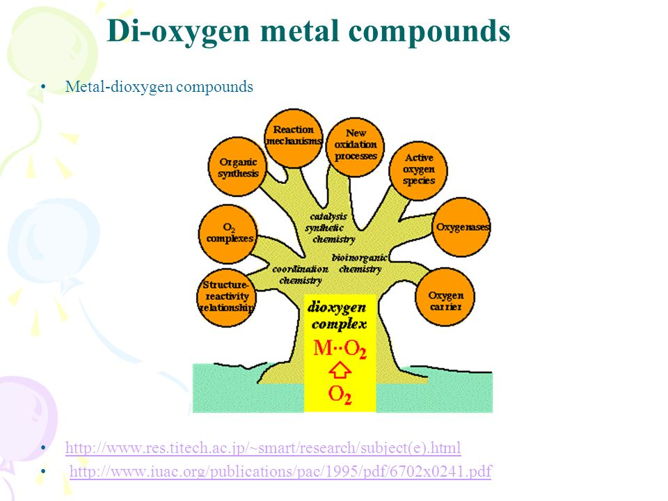 Di-oxygen metal compounds Metal-dioxygen compounds