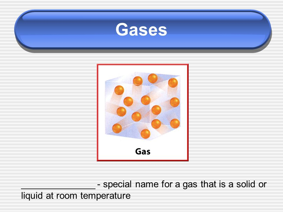 Gases ______________ - special name for a gas that is a solid or liquid at room temperature