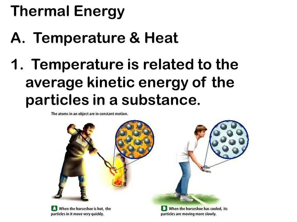 Thermal Energy A. Temperature & Heat 1. Temperature is related to ...