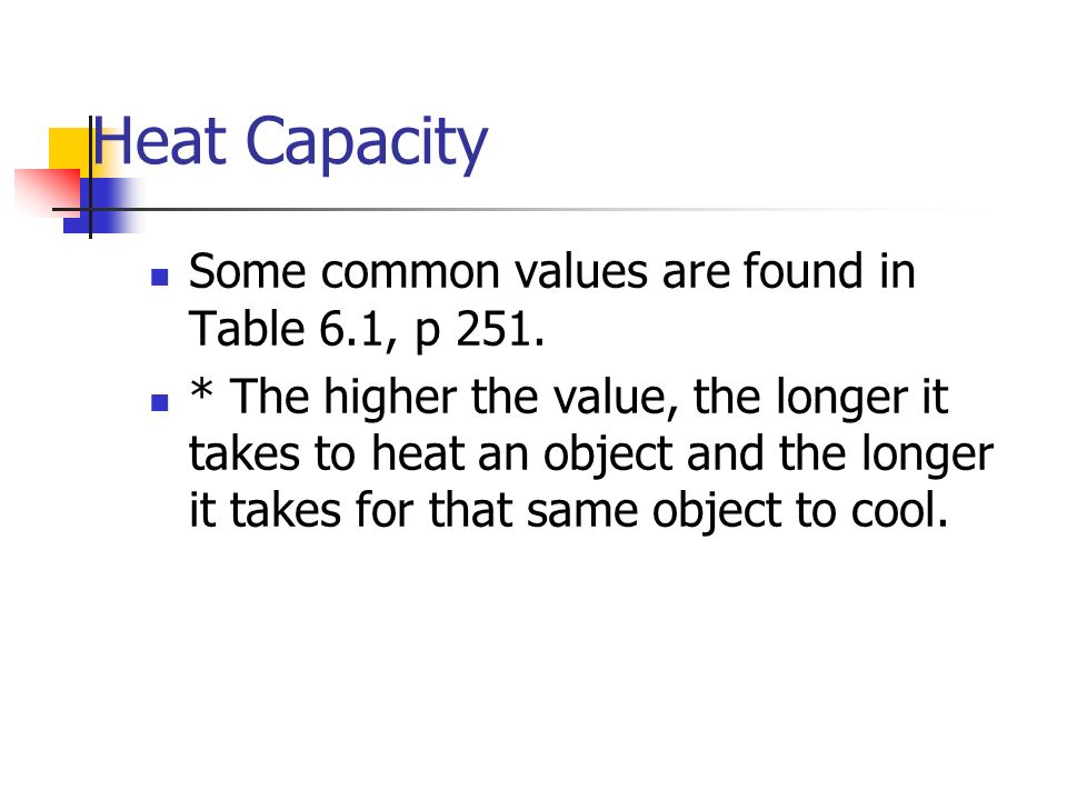 Heat Capacity Some common values are found in Table 6.1, p 251.