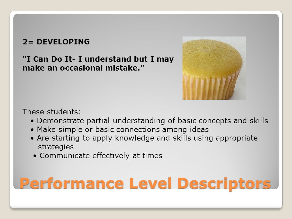 Performance Level Descriptors 2= DEVELOPING I Can Do It- I understand but I may make an occasional mistake. These students: Demonstrate partial understanding of basic concepts and skills Make simple or basic connections among ideas Are starting to apply knowledge and skills using appropriate strategies Communicate effectively at times