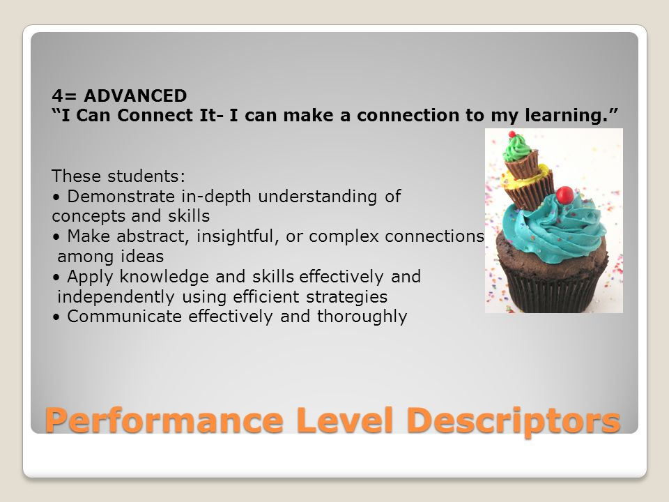 Performance Level Descriptors 4= ADVANCED I Can Connect It- I can make a connection to my learning. These students: Demonstrate in-depth understanding of concepts and skills Make abstract, insightful, or complex connections among ideas Apply knowledge and skills effectively and independently using efficient strategies Communicate effectively and thoroughly