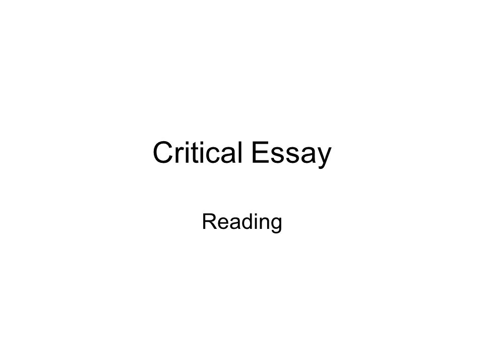 critical reading response essay