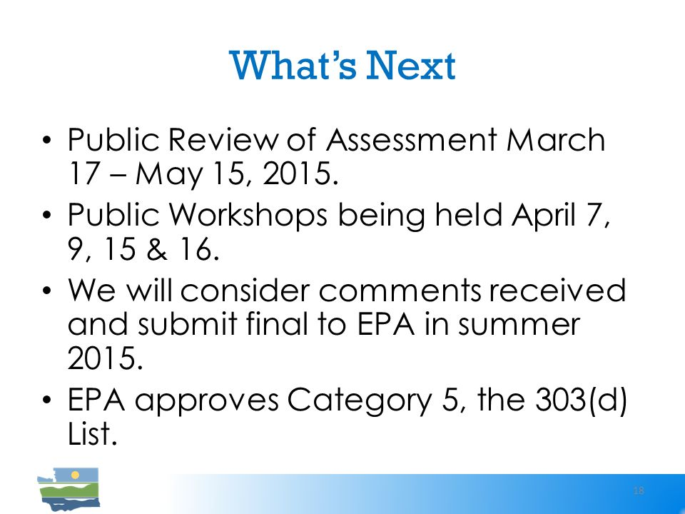 What's Next Public Review of Assessment March 17 – May 15, 2015.