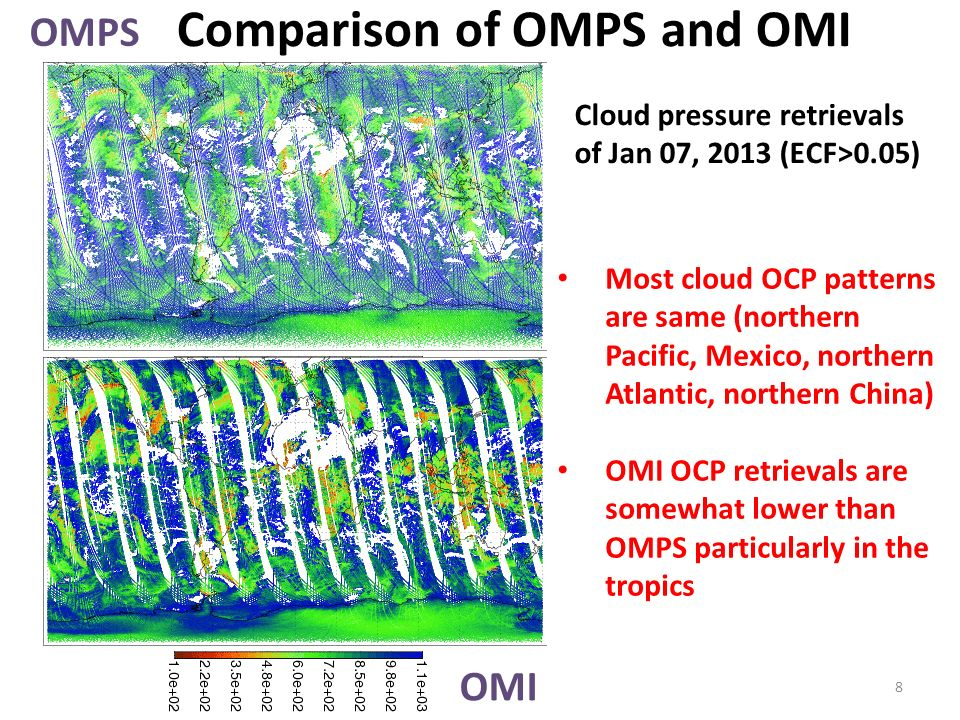 Comparison of OMPS and OMI OMPS OMI Cloud pressure retrievals of Jan 07, 2013 (ECF>0.05) Most cloud OCP patterns are same (northern Pacific, Mexico, northern Atlantic, northern China) OMI OCP retrievals are somewhat lower than OMPS particularly in the tropics 8
