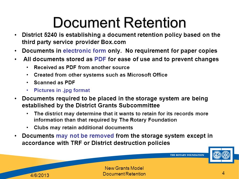 New Grants Model Document Retention 1 District 5240 Grants