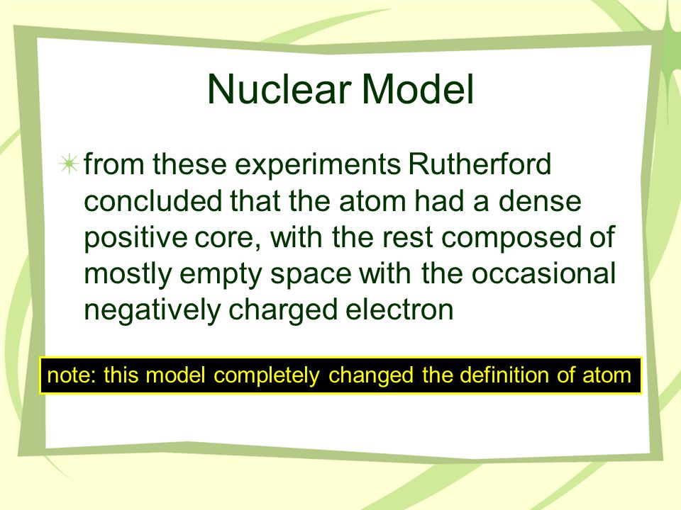 Rutherford found that most (99%) of the alpha particles that he shot at the gold went straight through Nuclear Model