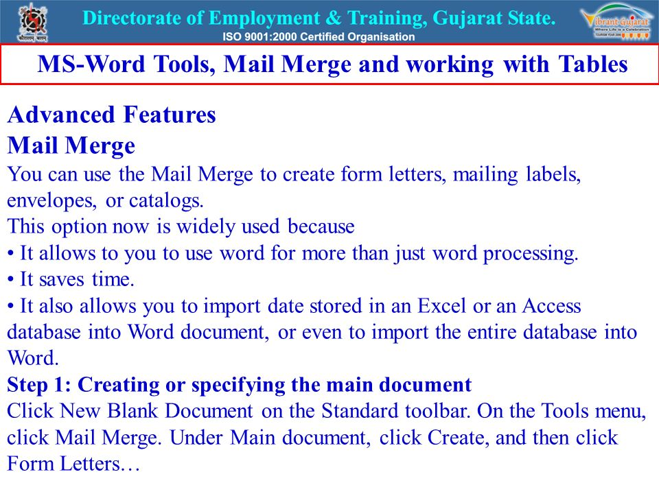 word mail merge
