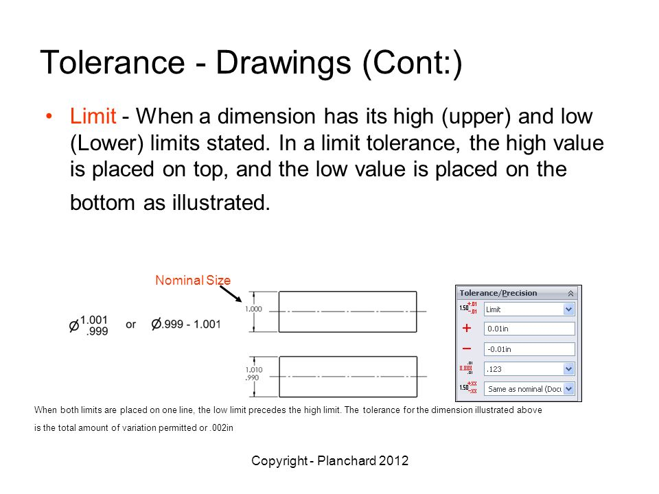 Copyright - Planchard 2012 Tolerance - Drawings (Cont:) Limit - When a dimension has its high (upper) and low (Lower) limits stated.