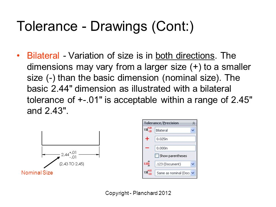 Copyright - Planchard 2012 Tolerance - Drawings (Cont:) Bilateral - Variation of size is in both directions.