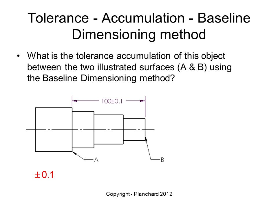 Copyright - Planchard 2012 Tolerance - Accumulation - Baseline Dimensioning method What is the tolerance accumulation of this object between the two illustrated surfaces (A & B) using the Baseline Dimensioning method?
