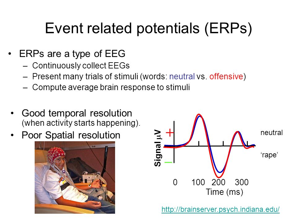 Event related potentials (ERPs) ERPs are a type of EEG –Continuously collect EEGs –Present many trials of stimuli (words: neutral vs.