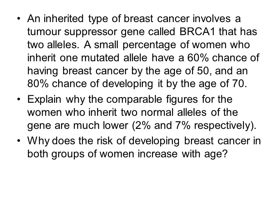 An inherited type of breast cancer involves a tumour suppressor gene called BRCA1 that has two alleles.