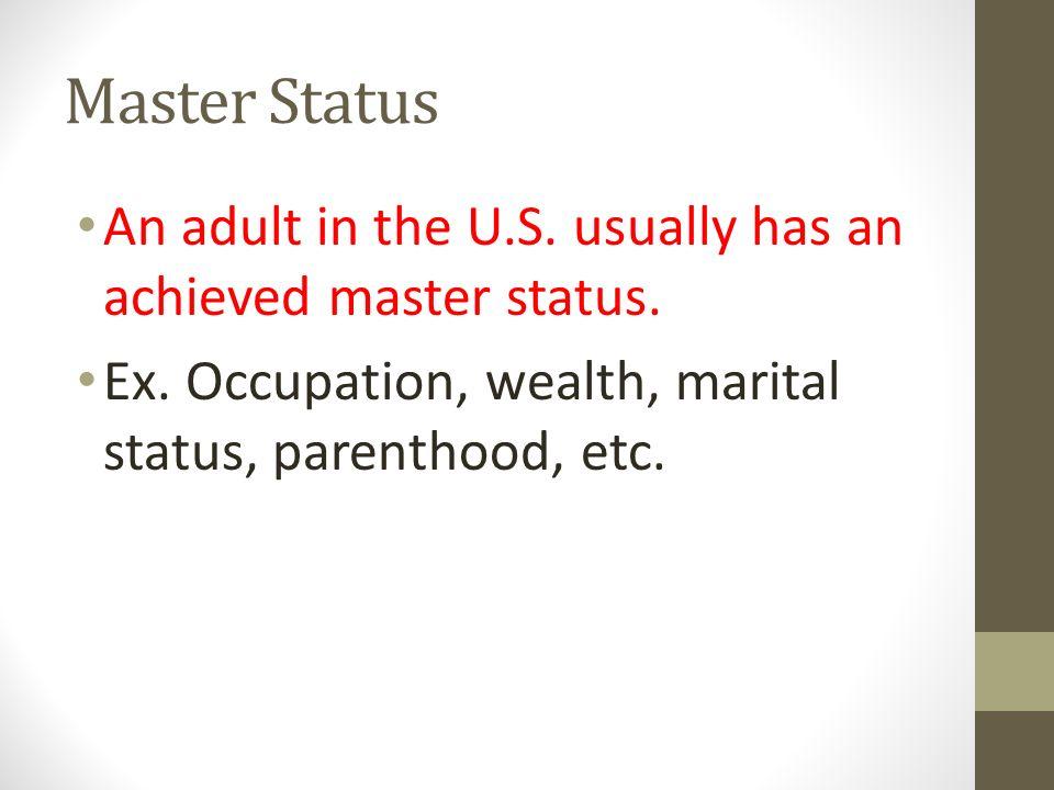 Master Status Master status can change throughout your life.