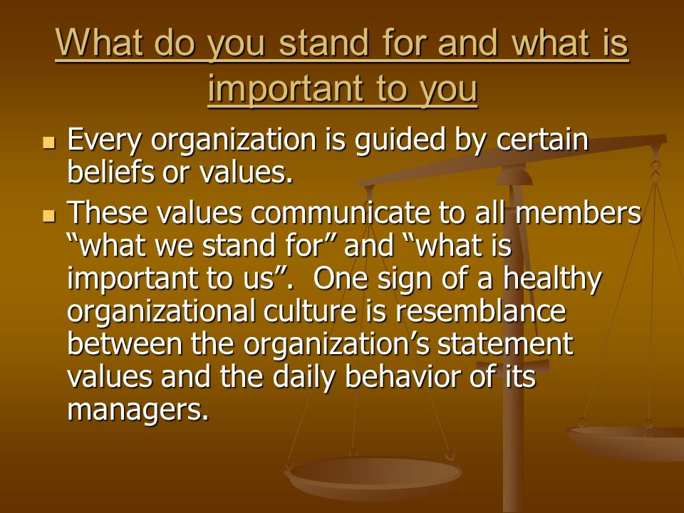 What do you stand for and what is important to you Every organization is guided by certain beliefs or values.