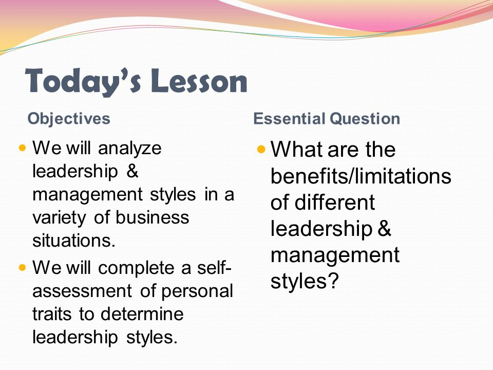 Today's Lesson Objectives Essential Question We will analyze leadership & management styles in a variety of business situations. We will complete a se