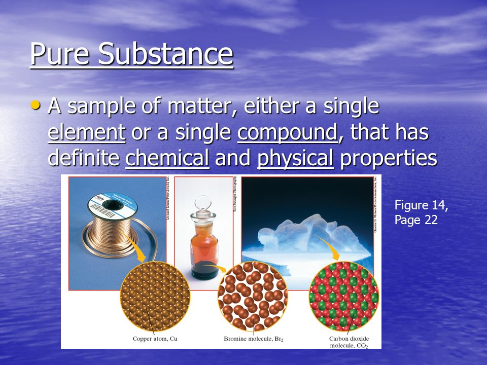 Pure Substance A sample of matter, either a single element or a single compound, that has definite chemical and physical properties A sample of matter, either a single element or a single compound, that has definite chemical and physical properties Figure 14, Page 22