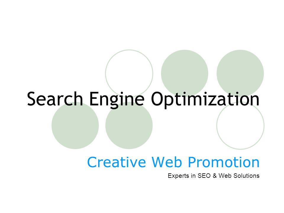 Search Engine Optimization Creative Web Promotion Experts in SEO & Web Solutions