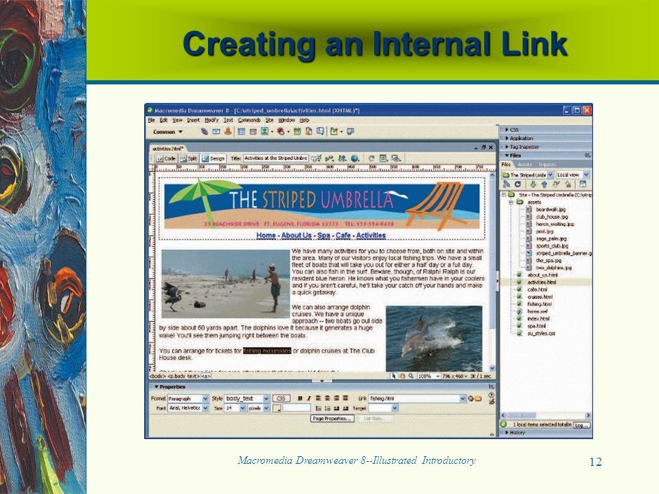 Macromedia Dreamweaver 8--Illustrated Introductory 12 Creating an Internal Link