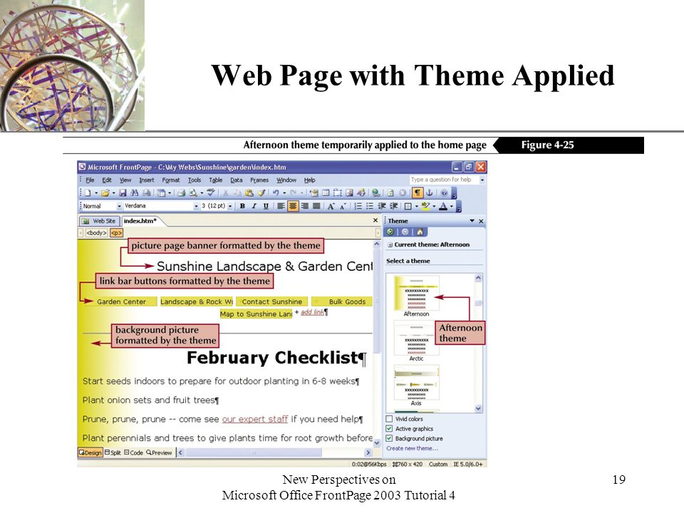 XP New Perspectives on Microsoft Office FrontPage 2003 Tutorial 4 19 Web Page with Theme Applied