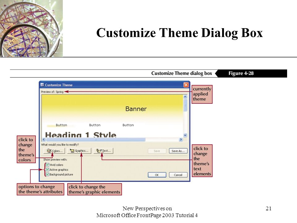 XP New Perspectives on Microsoft Office FrontPage 2003 Tutorial 4 21 Customize Theme Dialog Box