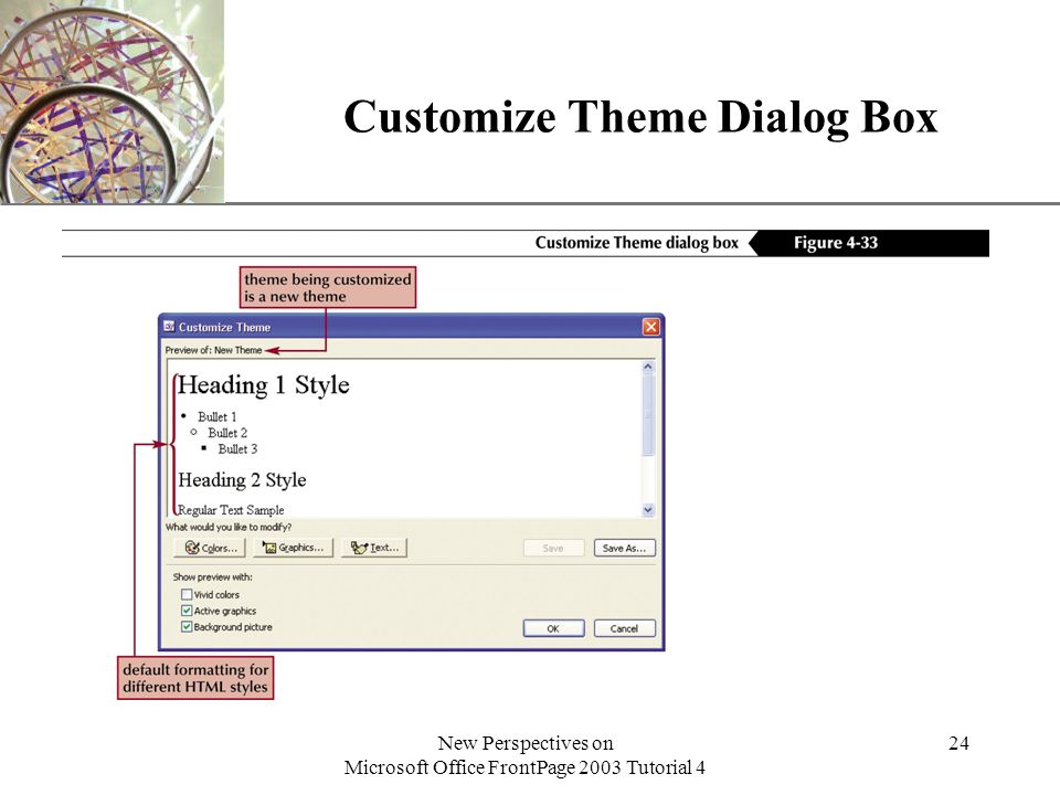 XP New Perspectives on Microsoft Office FrontPage 2003 Tutorial 4 24 Customize Theme Dialog Box