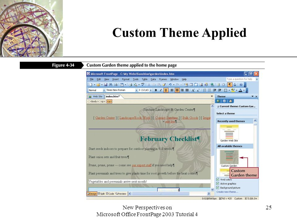 XP New Perspectives on Microsoft Office FrontPage 2003 Tutorial 4 25 Custom Theme Applied