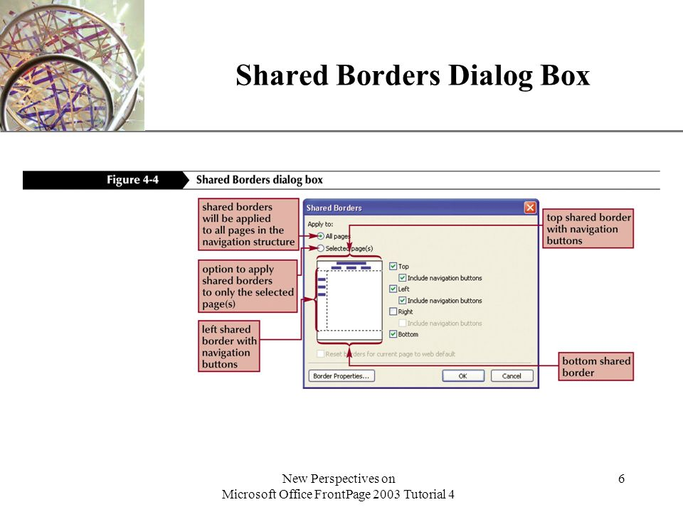 XP New Perspectives on Microsoft Office FrontPage 2003 Tutorial 4 6 Shared Borders Dialog Box
