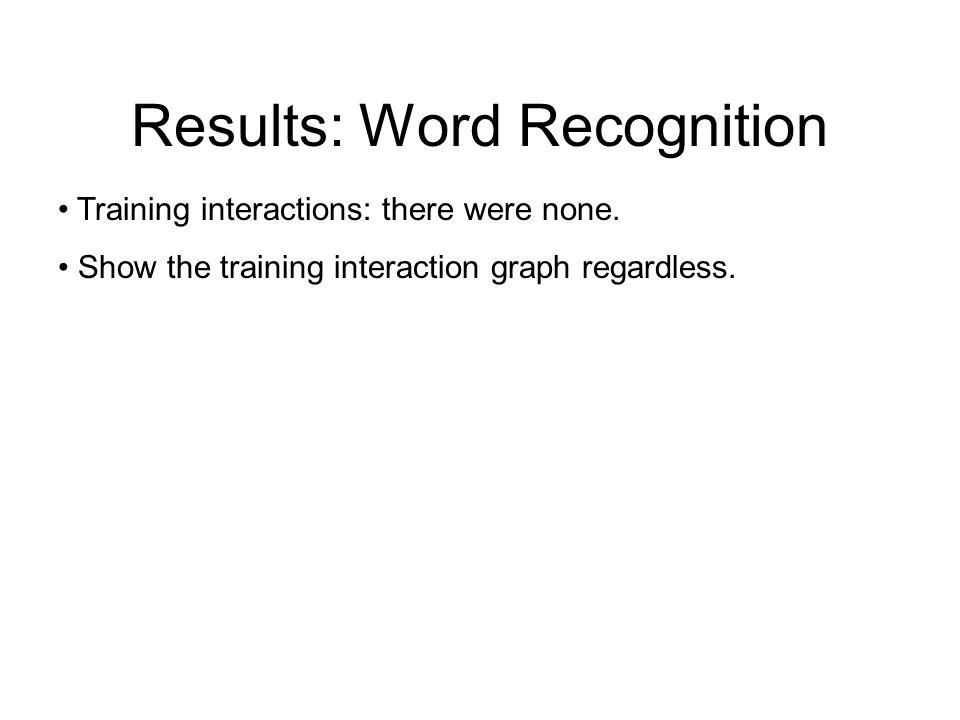 Results: Word Recognition Go over the general voice quality results first Modal > Creaky > Breathy Why.