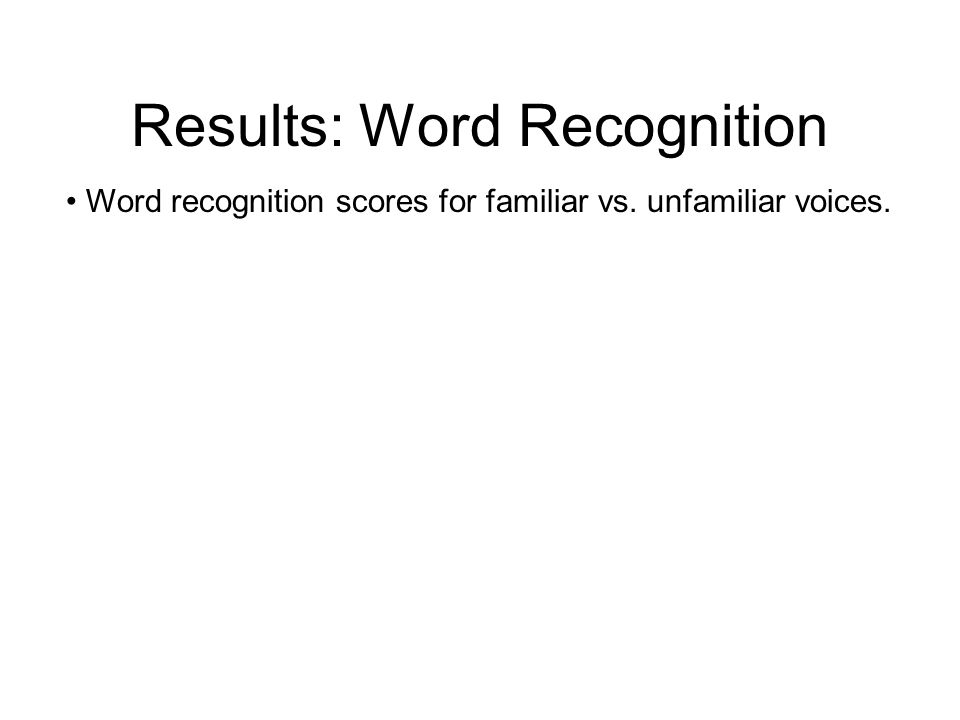 Results: Word Recognition Training interactions: there were none.