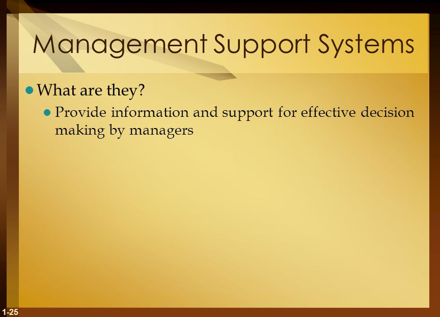 1-25 Management Support Systems What are they.