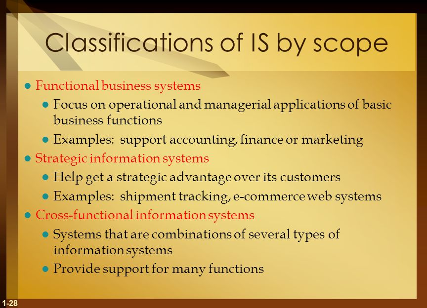 1-28 Classifications of IS by scope Functional business systems Focus on operational and managerial applications of basic business functions Examples: support accounting, finance or marketing Strategic information systems Help get a strategic advantage over its customers Examples: shipment tracking, e-commerce web systems Cross-functional information systems Systems that are combinations of several types of information systems Provide support for many functions