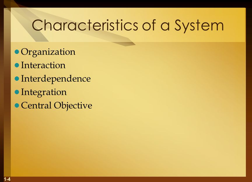 1-4 Characteristics of a System Organization Interaction Interdependence Integration Central Objective