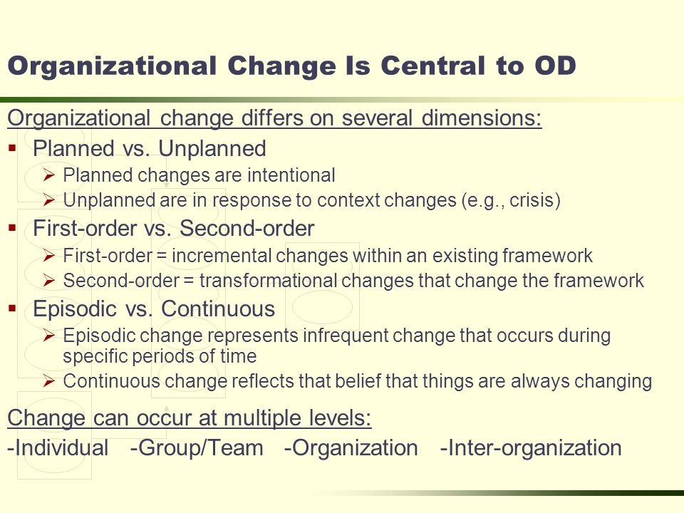 organisational chage essay Organizational development and change name institutional affiliation date introduction the notion of change is a phenomenon that organizations face.
