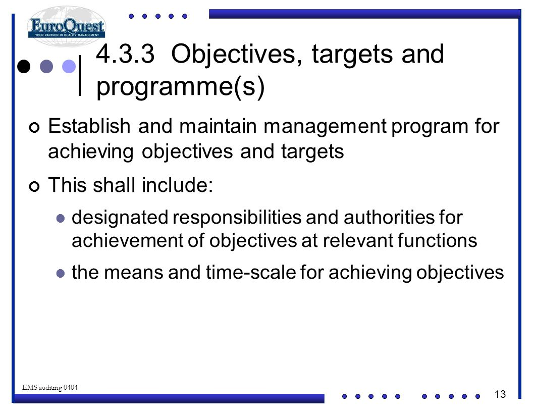 13 © ART an affiliate of EuroQuest 2001 EMS auditing 0404 Establish and maintain management program for achieving objectives and targets This shall include: designated responsibilities and authorities for achievement of objectives at relevant functions the means and time-scale for achieving objectives 4.3.3 Objectives, targets and programme(s)