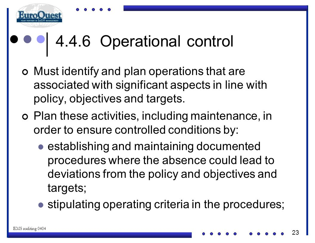 23 © ART an affiliate of EuroQuest 2001 EMS auditing 0404 4.4.6 Operational control Must identify and plan operations that are associated with significant aspects in line with policy, objectives and targets.