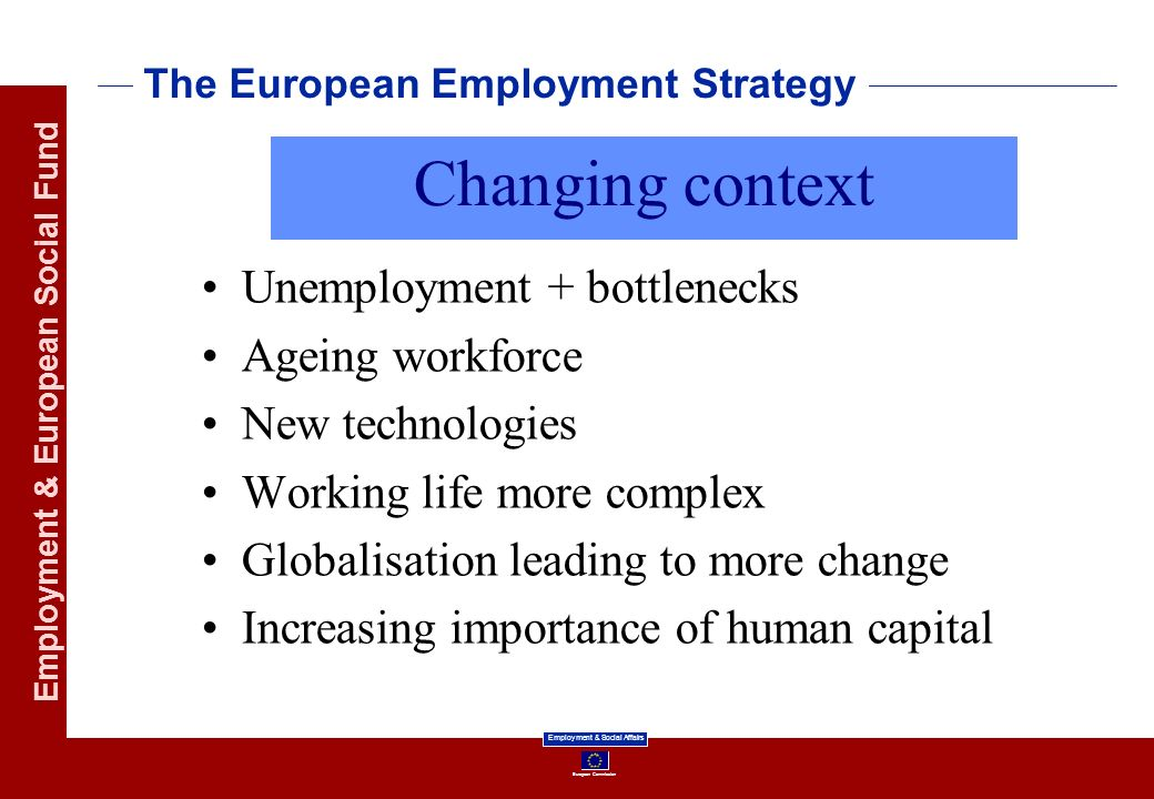 European Commission Employment & Social Affairs Employment & European Social Fund The European Employment Strategy Unemployment + bottlenecks Ageing workforce New technologies Working life more complex Globalisation leading to more change Increasing importance of human capital Changing context