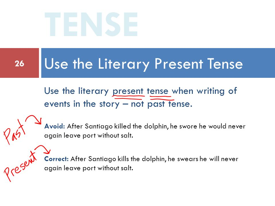 writing essay present tense past tense Verb tense for analysis of literature and history writing about literature in her essay, in search of our you'll need to use both present and past tense.