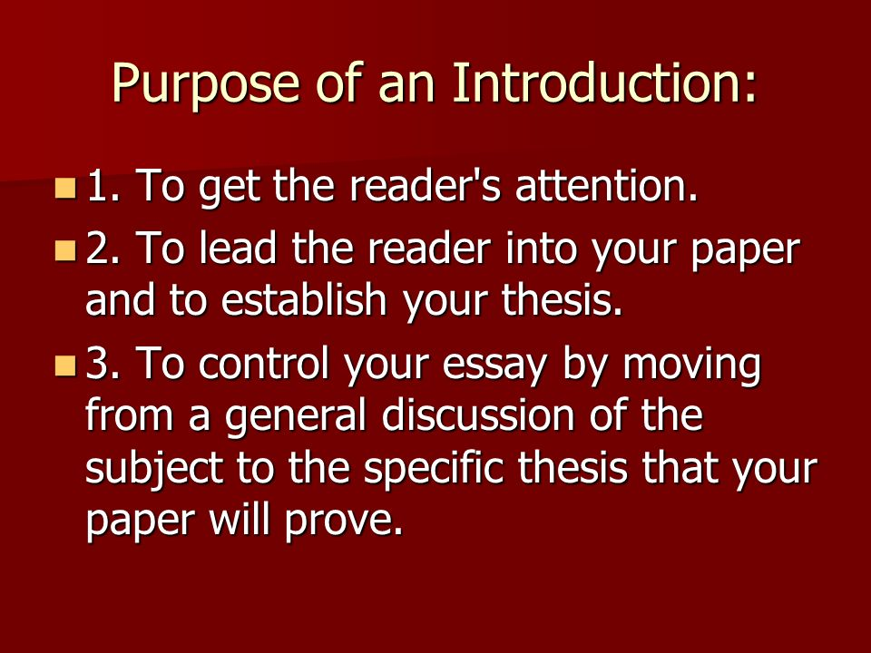 purpose of introduction in essay Samples of mba essays by real candidates who were accepted to wharton, harvard, insead and other top ranked business schools.