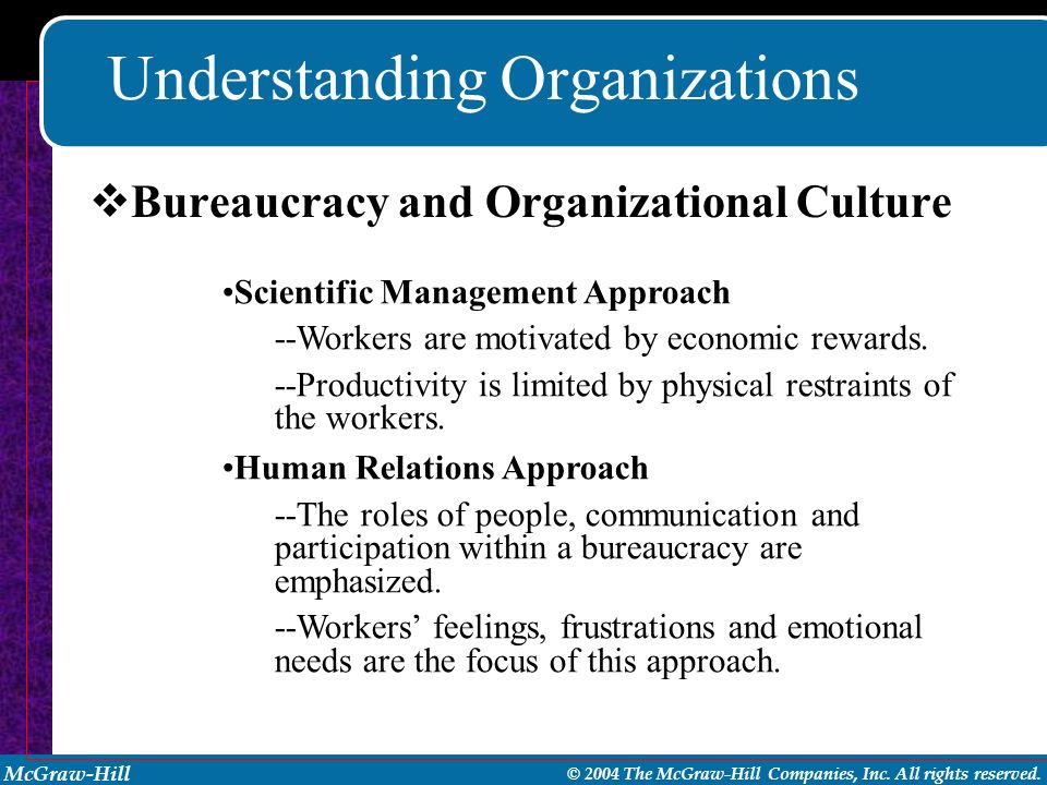 McGraw-Hill © 2004 The McGraw-Hill Companies, Inc. All rights reserved. Understanding Organizations Scientific Management Approach --Workers are motiv