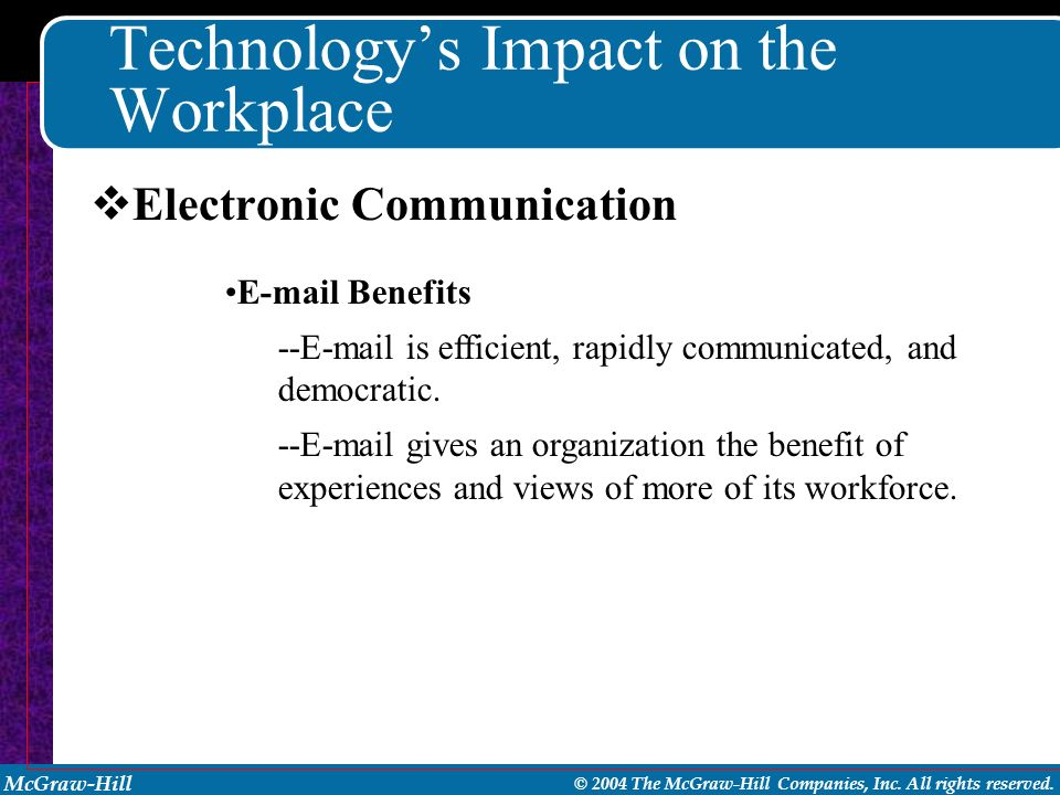 McGraw-Hill © 2004 The McGraw-Hill Companies, Inc. All rights reserved. Technology's Impact on the Workplace E-mail Benefits --E-mail is efficient, ra