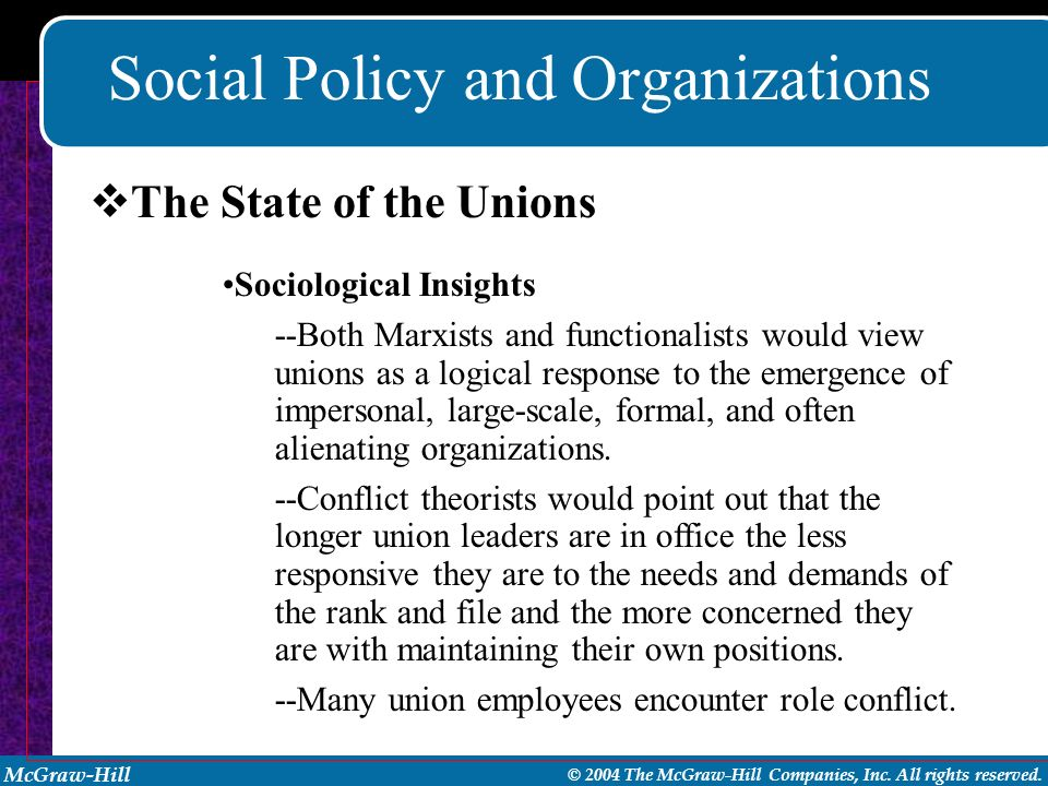 McGraw-Hill © 2004 The McGraw-Hill Companies, Inc. All rights reserved. Social Policy and Organizations Sociological Insights --Both Marxists and func