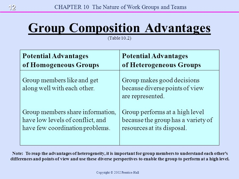CHAPTER 10 The Nature of Work Groups and Teams Copyright © 2002 Prentice-Hall Group Composition Advantages (Table 10.2) Potential Advantages of Homogeneous Groups Group members like and get along well with each other.