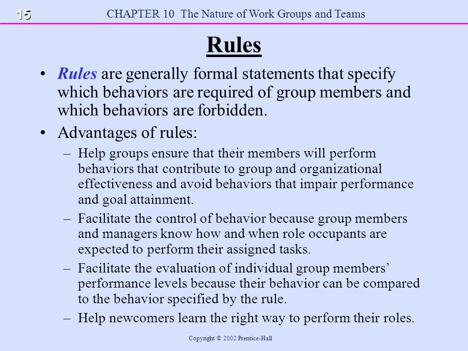 CHAPTER 10 The Nature of Work Groups and Teams Copyright © 2002 Prentice-Hall Rules Rules are generally formal statements that specify which behaviors are required of group members and which behaviors are forbidden.