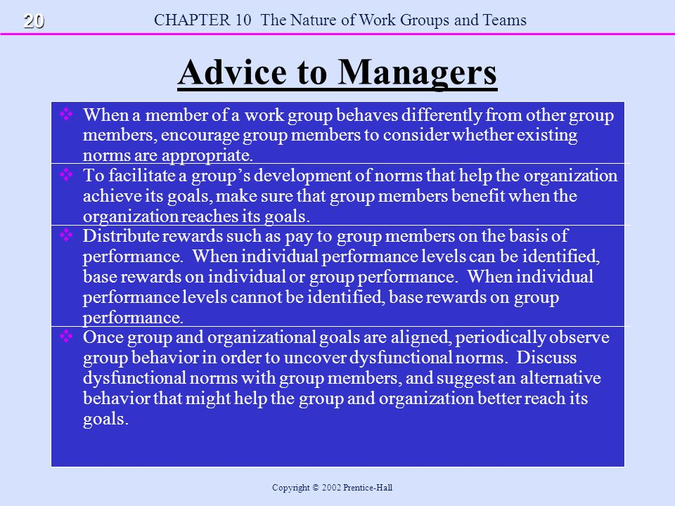 CHAPTER 10 The Nature of Work Groups and Teams Copyright © 2002 Prentice-Hall Advice to Managers  When a member of a work group behaves differently from other group members, encourage group members to consider whether existing norms are appropriate.