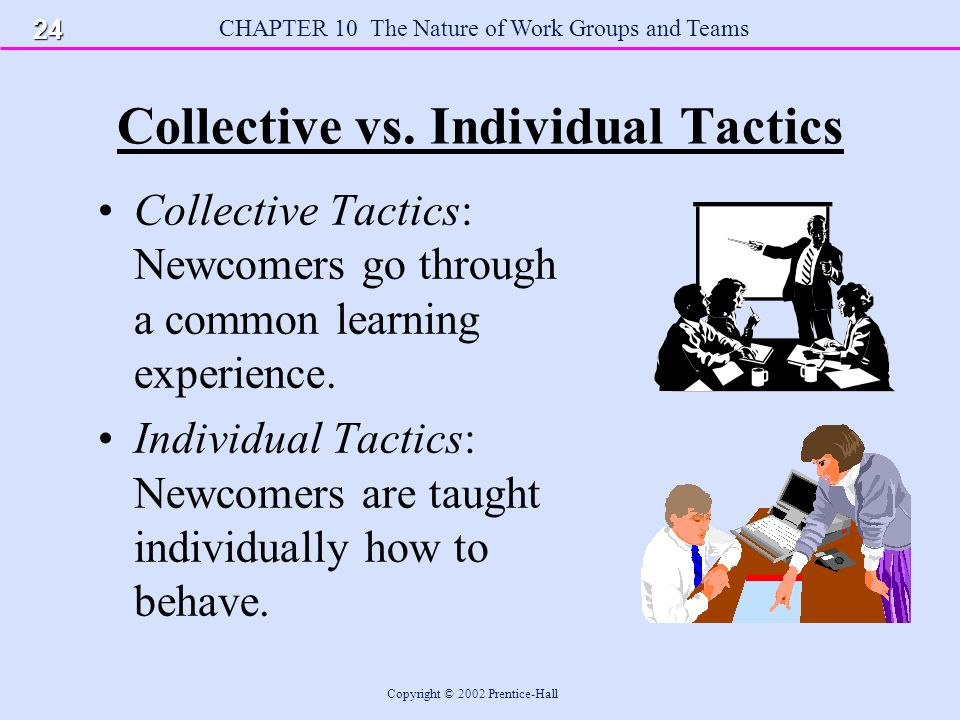 CHAPTER 10 The Nature of Work Groups and Teams Copyright © 2002 Prentice-Hall Collective vs.