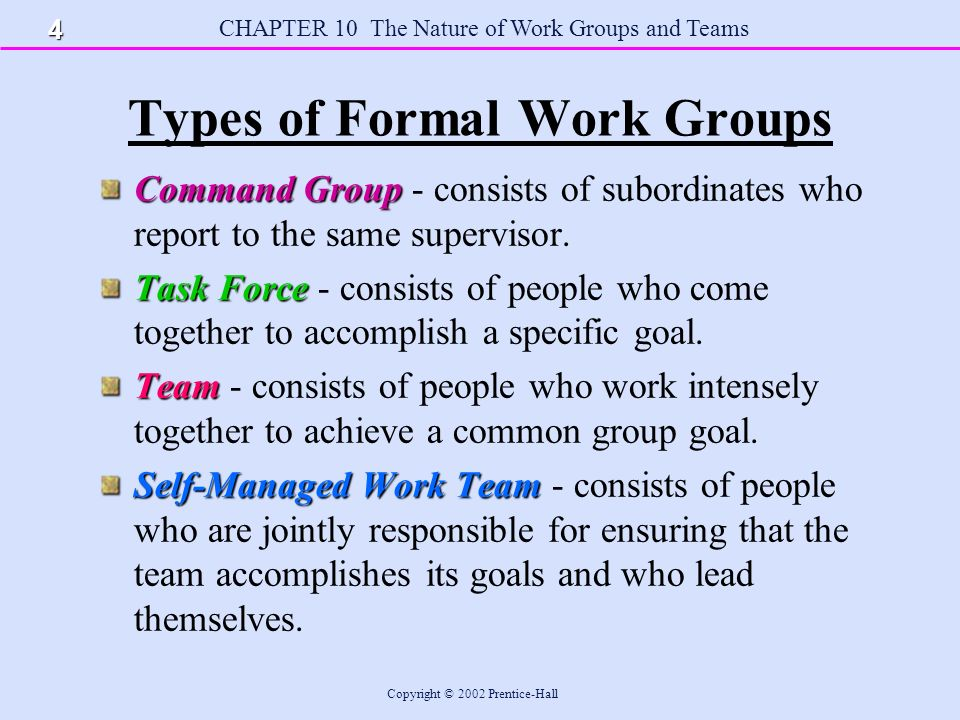 CHAPTER 10 The Nature of Work Groups and Teams Copyright © 2002 Prentice-Hall Formal vs.