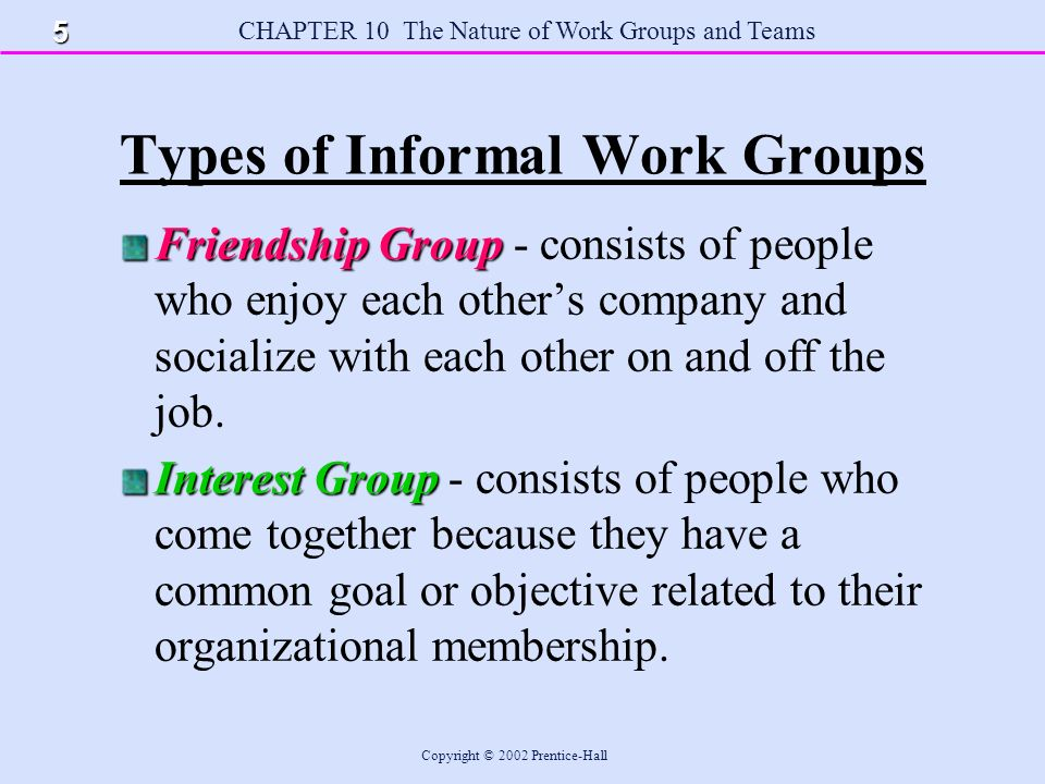 CHAPTER 10 The Nature of Work Groups and Teams Copyright © 2002 Prentice-Hall Advice to Managers Make sure members of the groups you manage clearly understand their roles and role relationships by providing clear explanations, being available to answer questions, and clearly communicating the reasons for and nature of any changes in roles and role relationships.
